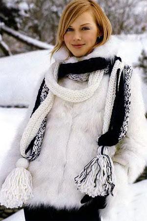 рисунок для объемного шарфа из белой пряжи