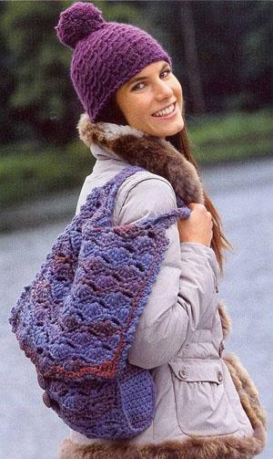 Вязаная шапка-ушанка Вязание
